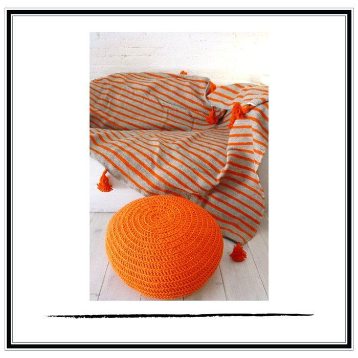 manta marroqui pompon naranja
